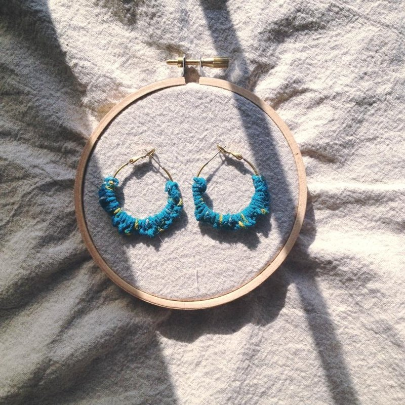 Brass earrings one _ blue sari