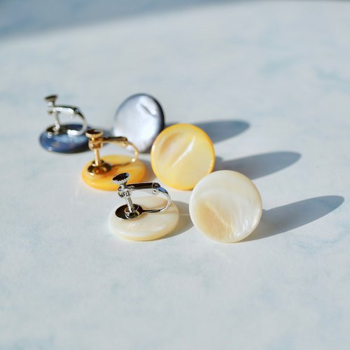 ITS-270 [Earrings series · Round shell 2.0] Yellow white blue 3 color ear clip spiral ear clip