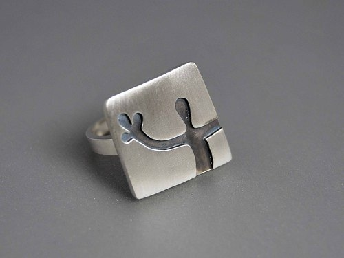 925 sterling silver oxide black HELLO Hello neutral geometric abstract geometric lines Square Ring Say Hi simple and elegant design creative birthday gift R080 | Greek original handmade jewelry This and That