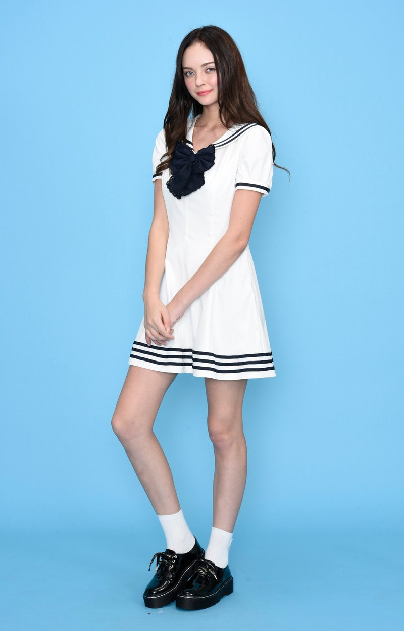 Bow navy collar dress
