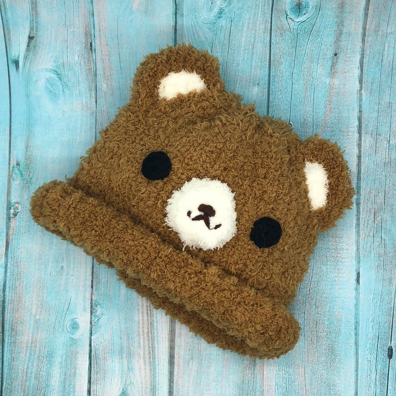 Caramel Bear - Wool Knit Baby Woolen Hat Miyue Ceremony (Adults and Kids Size)