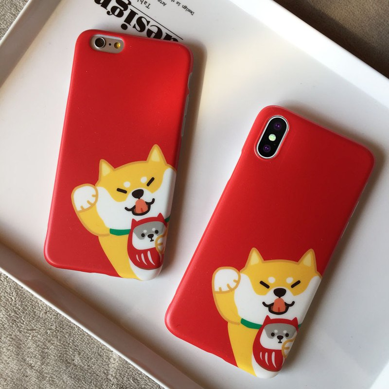 Baise-cho Shiba Inu dog lucky fortune year off red iphone6 ​​/ 7 / 8plus Apple X mobile phone soft shell