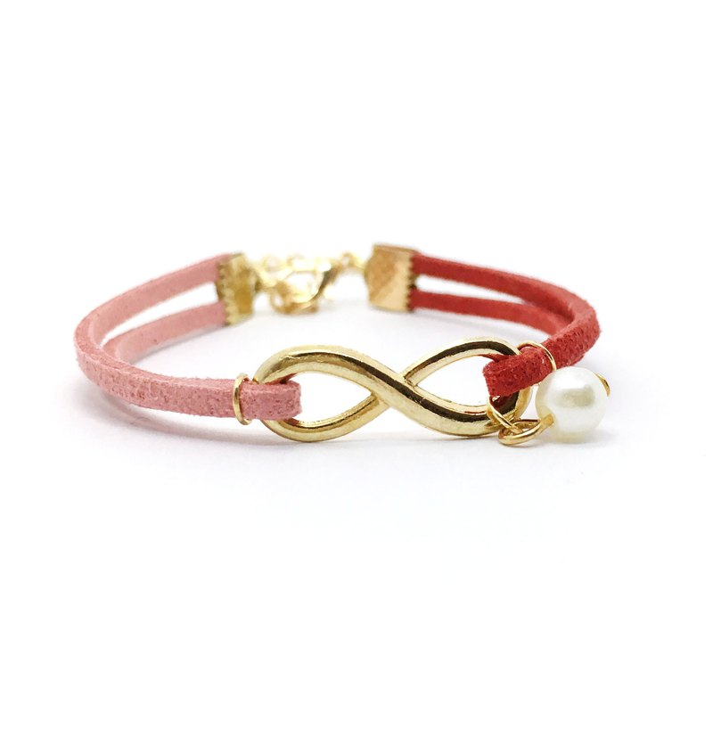 Handmade Infinity Bracelets Rose Gold Series– dark red limited