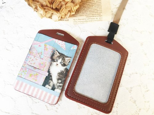 "Handmade Gifts ""manual pickup really sets"" cat blessing leather ticket folder / document sets / badge / Valentine's Day birthday gift exchange (lanyard)"