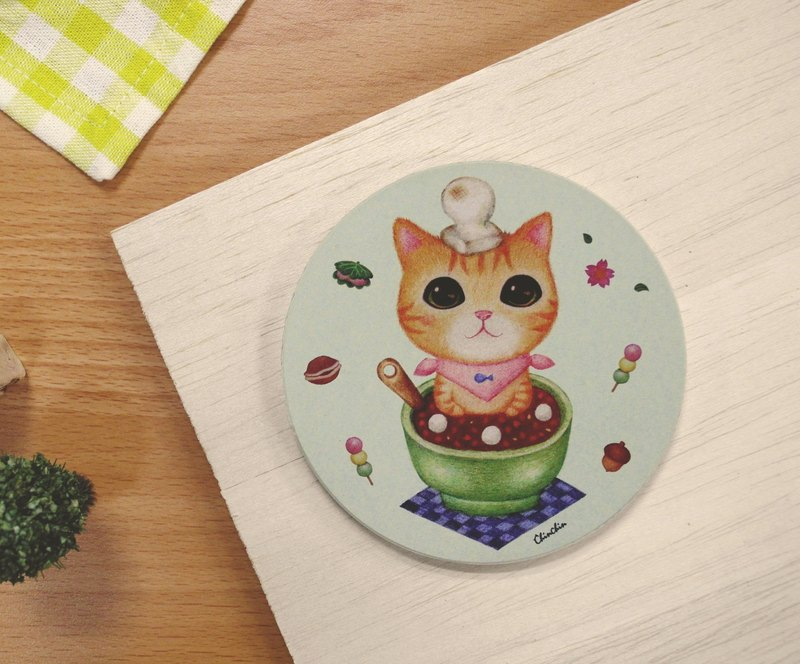 ChinChin hand-painted ceramic cat water coaster - red bean dumplings