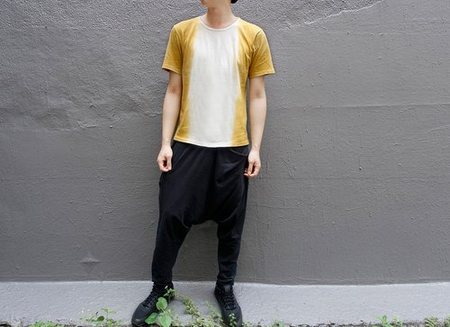 I - N Design Natural Dyeing Garden Gardenia Mustard Yellow Gradient Dye T - Shirt Organic Cotton