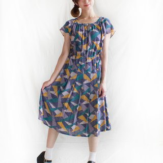 Triangle puzzle half sleeve vintage dress
