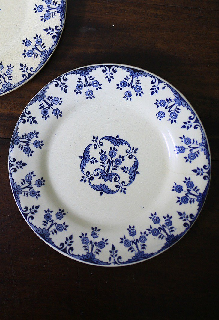 French antique old flower plate No.4 (2 pieces) plate plate