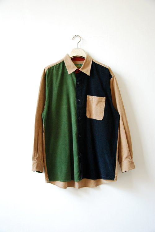 Vintage stitching color corduroy shirt