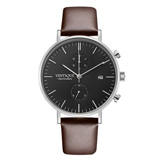 [Vintique] chronograph watch simple design sapphire glass steel stainless steel case leather strap CH-BS02