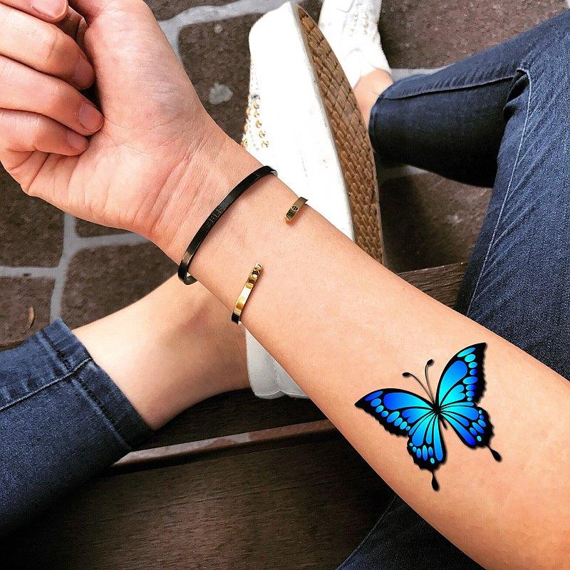 OhMyTat 藍色蝴蝶 刺青圖案紋身貼紙 (2 張)