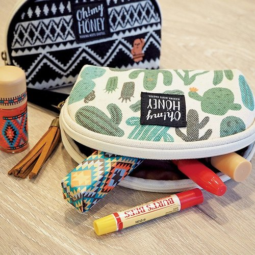 oh! my HONEY & SMART. Shells Cosmetic Bag / Land Doll (Black) Cactus (Green) PINE