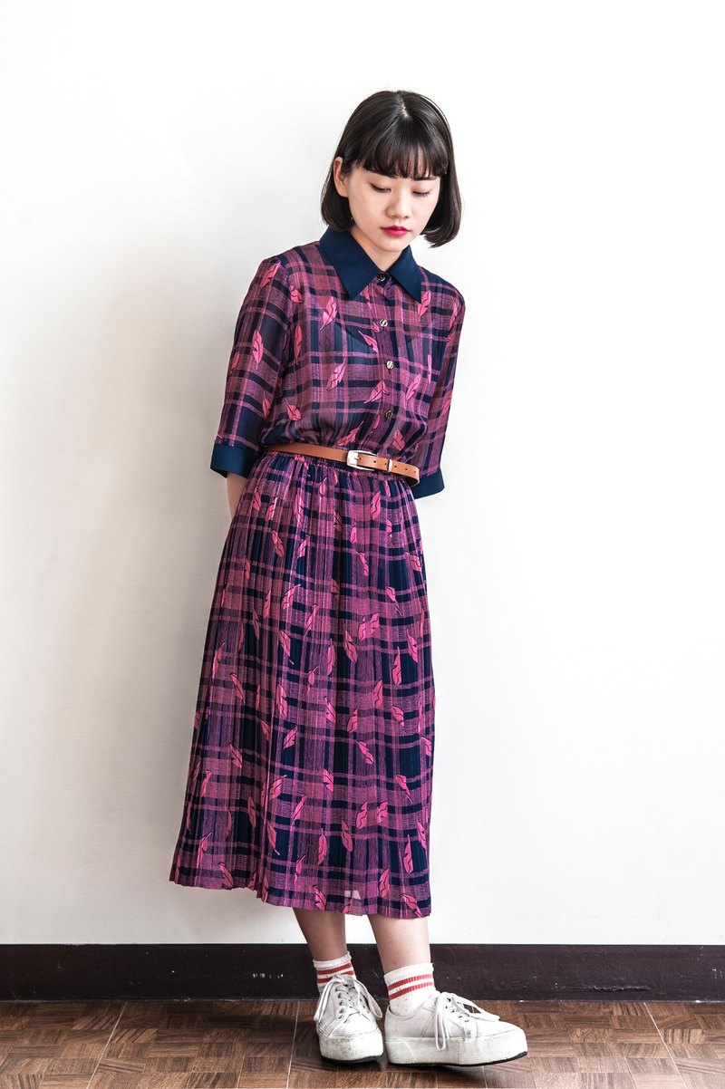 Vintage classic plaid feathers ancient short sleeve dress