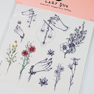 LAZY DUO Watercolor Floral Minimal Temporary Tattoo Sticker Zodiac Tarot Flower