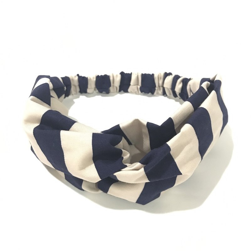 Blue horizontal stripes / hand-made elastic hair band