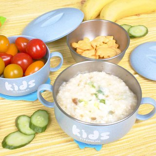 Pure titanium children's learning bowl (double layer) - lime blue