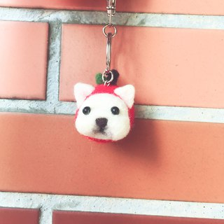 【Year of the dog】 Apple Fighting sheep wool felt key ring can be customized plus new year's day Apple dog keychain