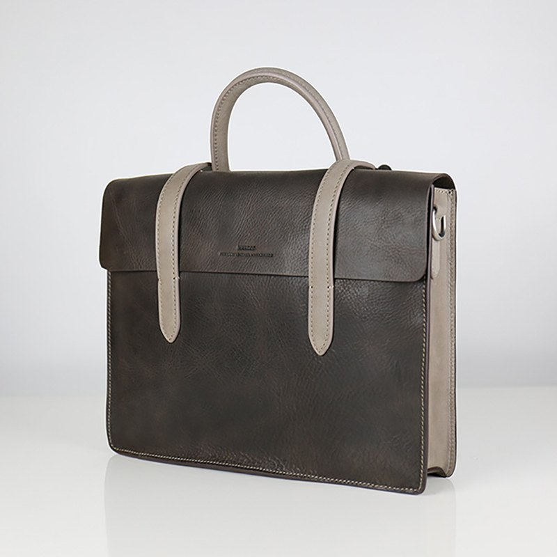 [HANDOS] Musician Leather Musical Briefcase - London Grey (Show Clear)