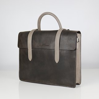 Musician Leather Shoulder Hand Tone Briefcase - London Grey