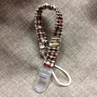Pacifier belt | pacifier clip | vanity pacifier suitable | coffee small plaid - elastic models