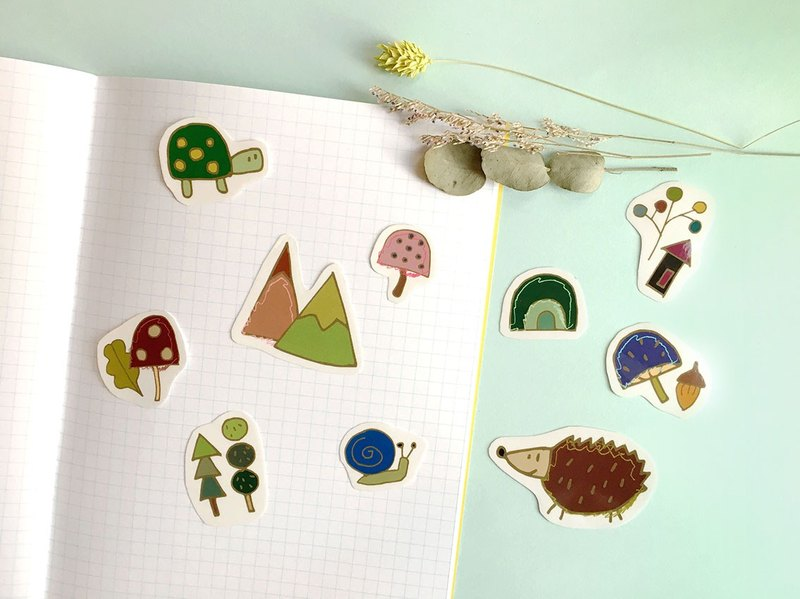 Happy together- hand-painted wind transparent waterproof forest animal sticker set