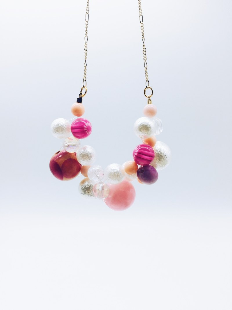 90 DEGREES Series - Double Bubbles Necklace (Pink)