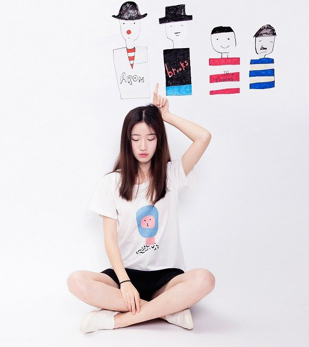 Summer cotton original printing couple T-shirt - face