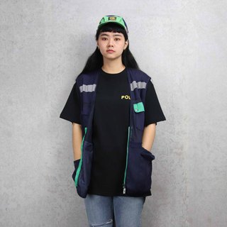 Tsubasa.Y Ancient House 006 Navy with grass green reflective mesh, fisherman mesh vest