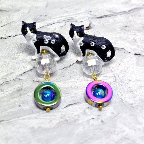 TIMBEE LO black and white cat earrings nostalgic gems with noble and lovely single sale