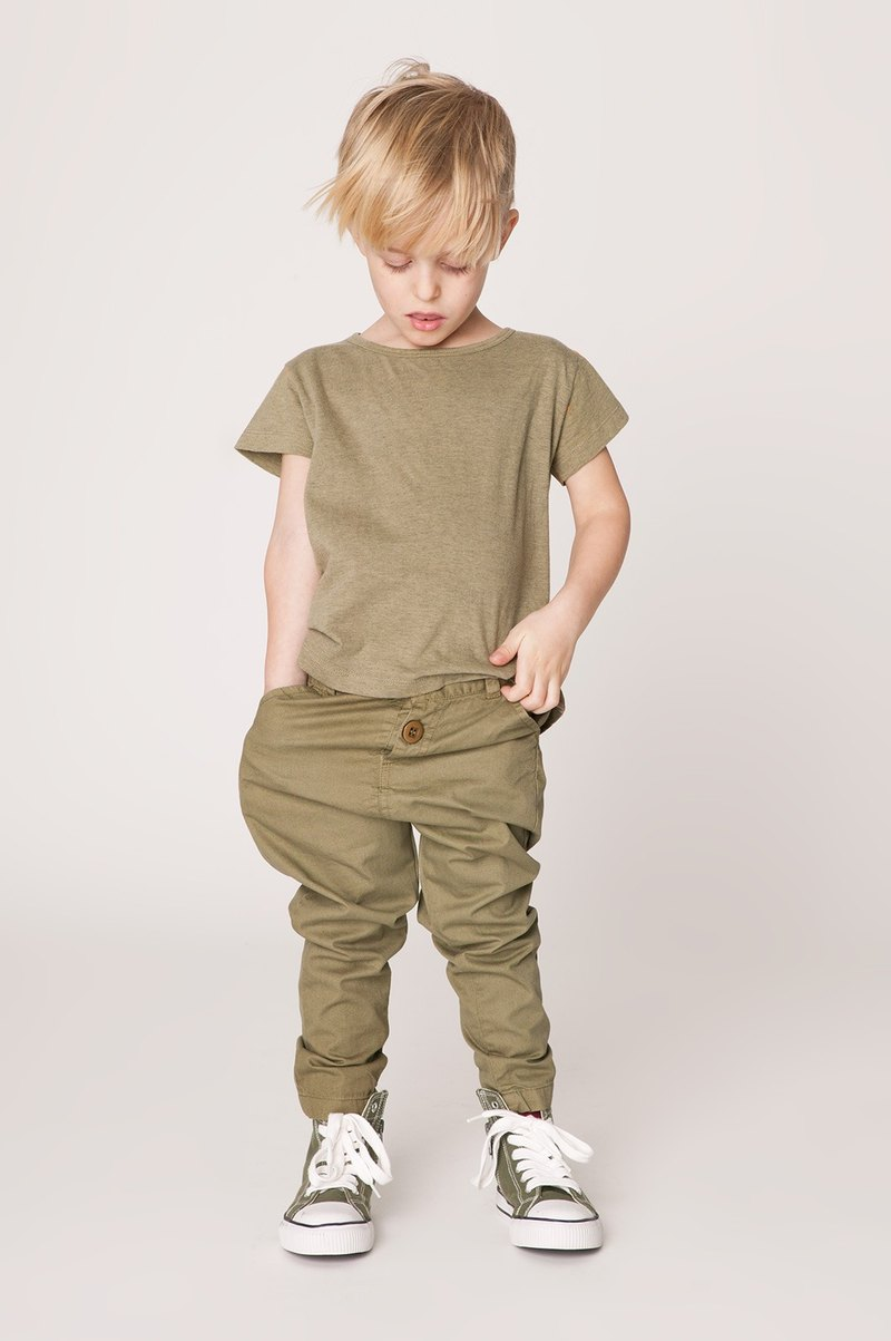Nordic organic cotton children's casual pants olive green