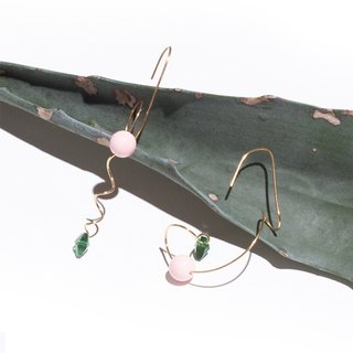 YUNSUO-original design-emerald pink crystal asymmetric earrings nonrefundable