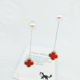 Detachable*thick red leaves*four-leaf clover business grass 18K gold red agate Akoya pearl earrings set