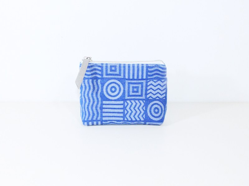 【The MAMA's Closet】Two Colors Denim Cotton  (Geometry) / Coin Bag ( Pouch )