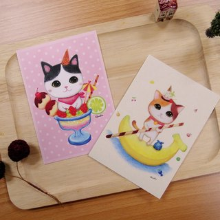 ChinChin painted cat Postcard - strawberry sundae / banana sundae (two into a group)
