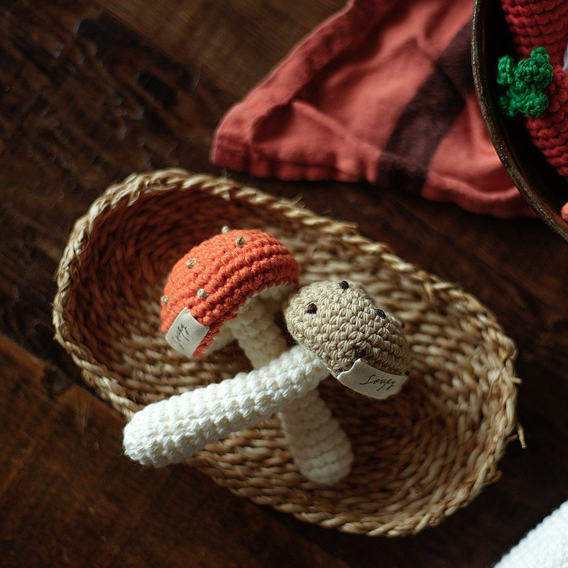 Hand-knit cotton mushrooms