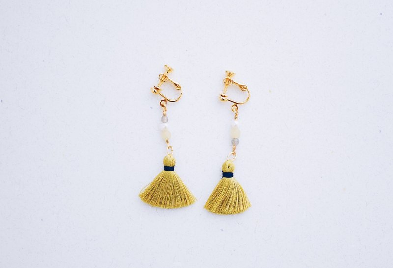 Warm - Earrings - Natural Stone Mustard Yellow Tassel Earrings (Christmas Present)
