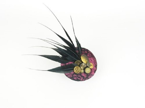 Fascinator Headpiece Cocktail Hat Statement Pink Floral Lace Fabric with Large Black Feathers and Vintage Buttons, Fashion Occasion