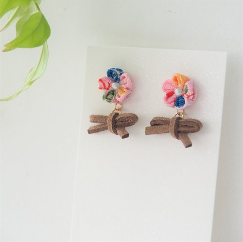 Cute Leather bow and Pink Japanese Pattern Floral Drop Earrings
