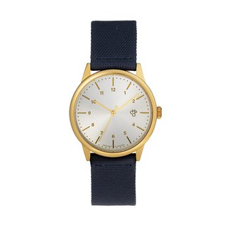 Chpo Brand Swedish Brand - Rawiya Gold and Silver Dial - Blue Canvas X Honey Brown Leather Watch