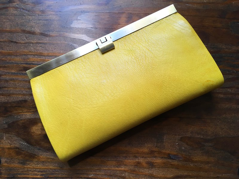 French goat leather card 16 storage wallet rectangle citron × pink