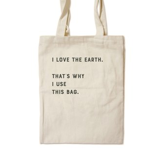 I love the earth. (Black) - Painted canvas bag