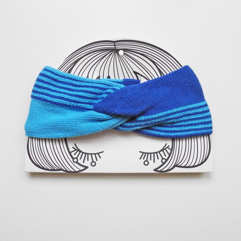 studio chiia - Knitted French Headband- Sky Blue / Cobalt
