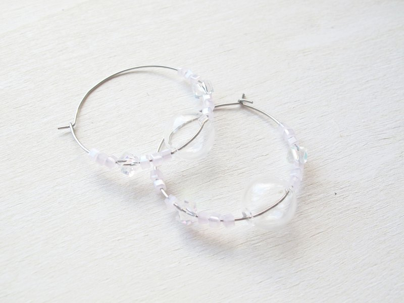 Rosy Garden light pink crystal with glass ball ringlike earrings