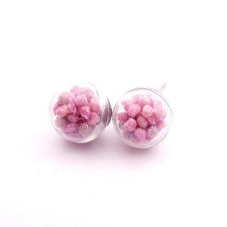A Handmade elegant lilac tone Xia grass glass ball earrings