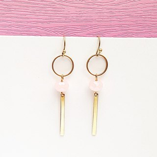 <Candy Party-Taro Cake> Pink crystal brass earrings minimalist geometric gift