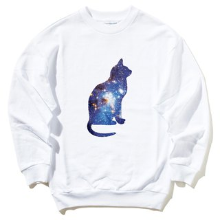 Cosmic Cat University T bristles neutral version of the white cat cosmic design Galaxy fashion trendy triangle Wen Qing