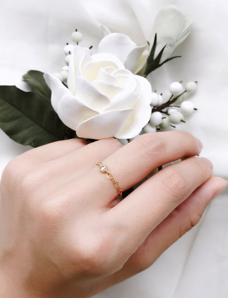 Eternal Classic Single Chain Chain Ring 14k Gold Ring Customized Fingers