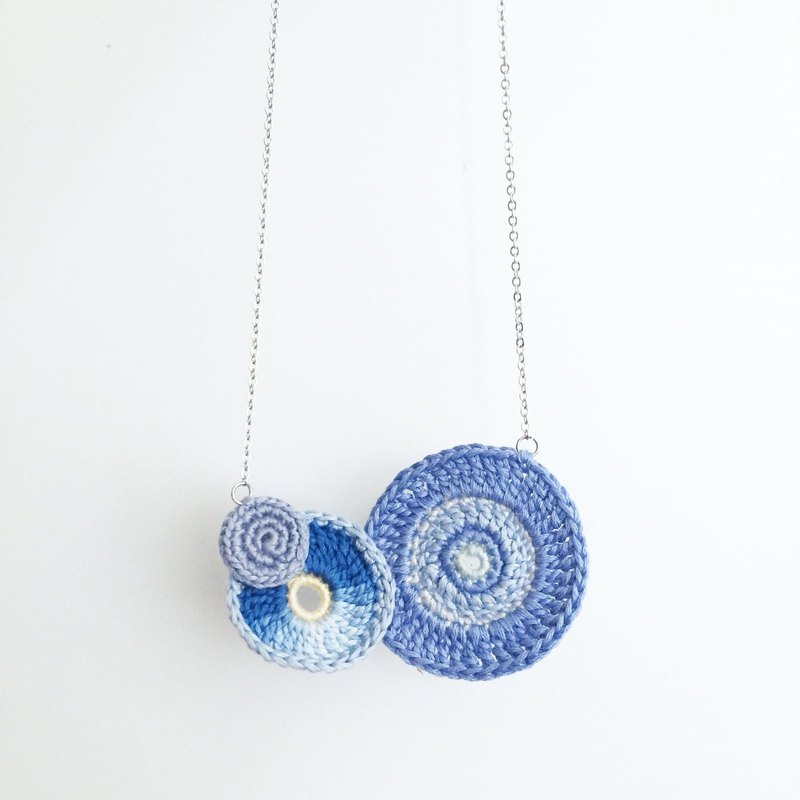 【MadeToOrder】Blessed Ring Blue Sky Necklace - Lace Crochet