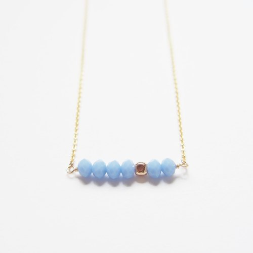 Minimalist temperament · gold-plated square beads · Czech cut face beads · gold-plated necklace (45cm) - quiet blue