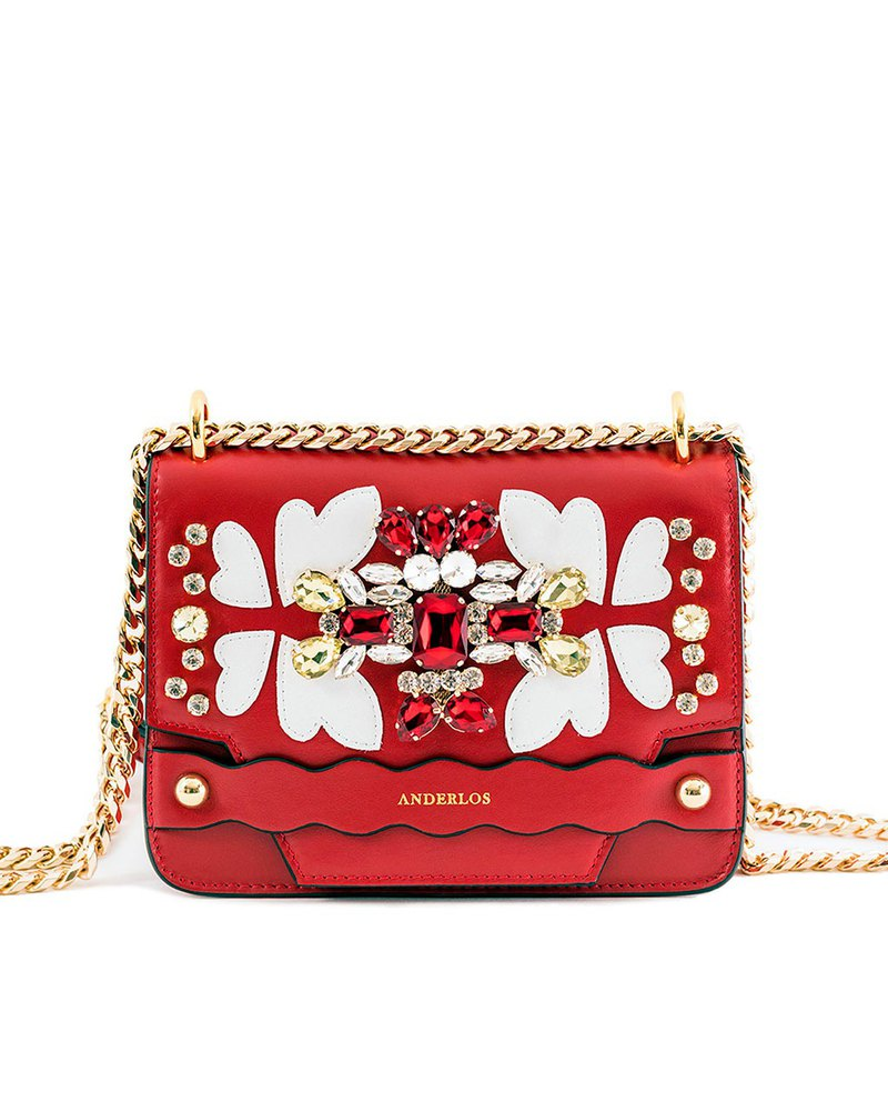 RED WHITE BUTTERFLY GEM SHOULDER BAG